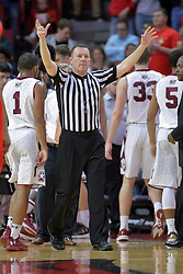 22 February 2017:  Brad Gaston calls for a full timeout during a College MVC (Missouri Valley conference) mens basketball game between the Southern Illinois Salukis and Illinois State Redbirds in  Redbird Arena, Normal IL