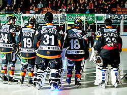 22.11.2011, Eisstadion Liebenau, Graz, AUT, EBEL, Moser Medical Graz 99ers vs UPC Vienna Capitals im Bild die 99ers mit Kristof Reinthaler (Moser Medical Graz 99ers, #24, Defender) sowie Lukas Peicha (Moser Medical Graz 99ers, #19, Defender) und Fabian Weinhandl (Moser Medical Graz 99ers, #31, Goalkeeper) und Robert Lembacher (Moser Medical Graz 99ers, #18, Defender) und Frederic Cloutier (Moser Medical Graz 99ers, #33, Goalkeeper) bei der Spielerpraesentation // during the Erste Bank Icehockey League, Eisstadion Liebenau, Graz, Austria, 2011-11-22, EXPA Pictures © 2011, PhotoCredit: EXPA/ E. Scheriau
