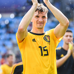 Thomas Meunier of Belgium celebrates the victory during the FIFA World Cup Group G match between Belgium and Tunisia at Spartak Stadium on June 23, 2018 in Moscow, Russia. (Photo by Anthony Dibon/Icon Sport)