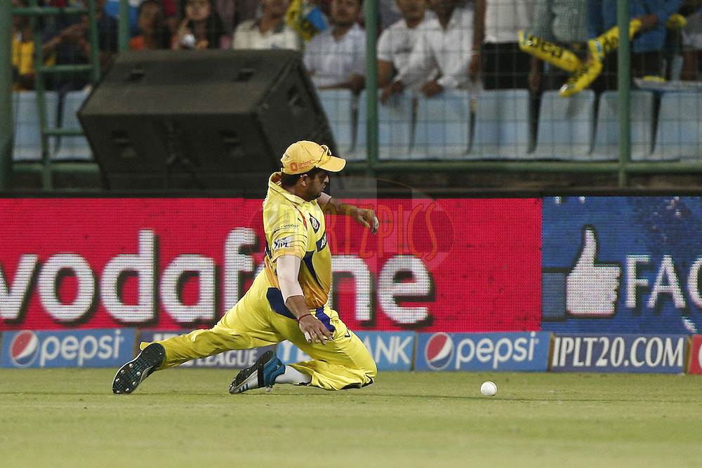 Suresh Raina of The Chennai Superkings during match 26 of the Pepsi Indian Premier League Season 2014 between the Delhi Daredevils and the Chennai Superkings held at the Ferozeshah Kotla cricket stadium, Delhi, India on the 5th May  2014<br /> <br /> Photo by Deepak Malik / IPL / SPORTZPICS<br /> <br /> <br /> <br /> Image use subject to terms and conditions which can be found here:  http://sportzpics.photoshelter.com/gallery/Pepsi-IPL-Image-terms-and-conditions/G00004VW1IVJ.gB0/C0000TScjhBM6ikg