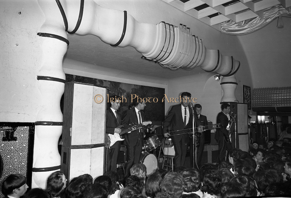 Royal Showband at the Crystal Ballroom, in the suits which were made specially for their forthcoming American tour by Premier Tailors.  The suits are part of the entire wardrobe which the boys will wear on the trip.<br /> 10.06.1964