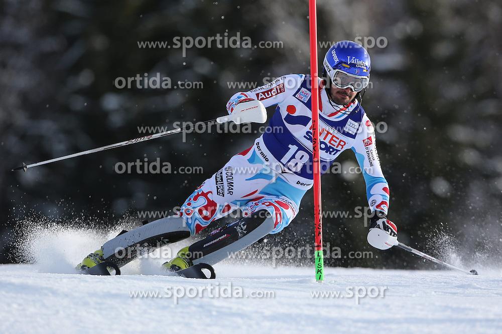 06.01.2014, Stelvio, Bormio, ITA, FIS Weltcup Ski Alpin, Bormio, Slalom, Herren, im Bild Jean-Baptiste Grange // Jean-Baptiste Grange  in action during mens Slalom of the Bormio FIS Ski World Cup at the Stelvio in Bormio, Italy on 2014/01/06. EXPA Pictures © 2014, PhotoCredit: EXPA/ Sammy Minkoff<br /> <br /> *****ATTENTION - OUT of GER*****