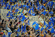Highlanders fans. Investec Super Rugby - Highlanders v Reds 27 February 2015, Forsyth Barr Stadium, Dunedin, New Zealand. Photo: New Zealand. Photo: Richard Hood/www.photosport.co.nz