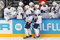 Joie Julien Desrosiers / Laurent Meunier /  Yorick treille - 09.05.2015 - Canada  / France  - Championnats du Monde de Hockey sur Glace 2015 -Prague<br />Photo : Xavier Laine / Icon Sport *** Local Caption ***