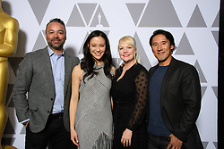 """Evan Hayes, Elizabeth Chai Vasarhelyi, Shannon Dill  and Jimmy Chin of the Oscar® nominated documentary feature """"Free Solo"""" prior to the Academy of Motion Picture Arts and Sciences' """"Oscar Week: Documentaries"""" event on Tuesday, February 19, 2019 at the Samuel Goldwyn Theater in Beverly Hills. The Oscars® will be presented on Sunday, February 24, 2019, at the Dolby Theatre® in Hollywood, CA and televised live by the ABC Television Network."""