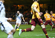 Dundee&rsquo;s Gary Harkins fires home Dundee's goal - Motherwell v Dundee - Ladbrokes Premiership at Fir Park<br /> <br /> <br />  - &copy; David Young - www.davidyoungphoto.co.uk - email: davidyoungphoto@gmail.com