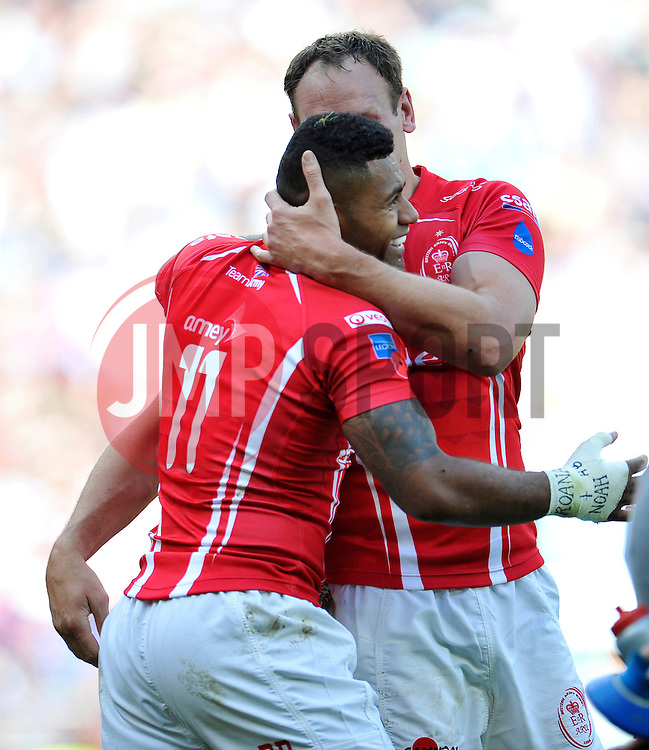Pte Jonasa Bulumakau of the Army is congratulated on his try - Photo mandatory by-line: Patrick Khachfe/JMP - Mobile: 07966 386802 09/05/2015 - SPORT - RUGBY UNION - London - Twickenham Stadium - Army v Royal Navy - Babcock Trophy