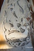 detail of carving on whalebone chair, Ika Lahi International Fishing Lodge, Hunga Island, Vava'u, Kingdom of Tonga, South Pacific