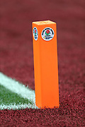 An end zone pylon is decorated with a Rose Bowl sticker logo for the USC Trojans 2017 NCAA Rose Bowl college football game against the Penn State Nittany Lions, Monday, Jan. 2, 2017 in Pasadena, Calif. The Trojans won the game 52-49. (©Paul Anthony Spinelli)