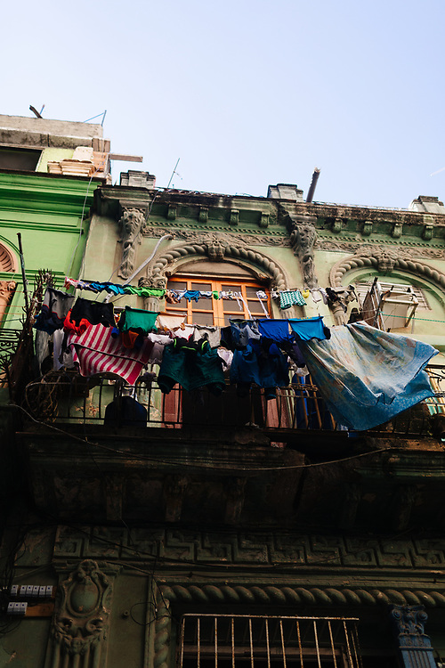 Laundry dries on balcony in Old Havana, Havana, Cuba