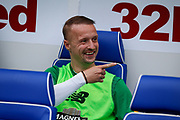 Leigh Griffiths of Celtic FC on the bench for the Ladbrokes Scottish Premiership match between Rangers and Celtic at Ibrox, Glasgow, Scotland on 1 September 2019.