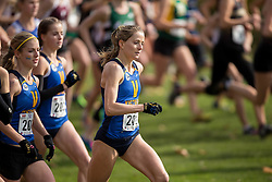 Maddy MacDonald of the Victoria Vikes runs in the women's  6K Dash at the 2013 CIS Cross Country Championships in London Ontario, Saturday,  November 9, 2013.<br /> Mundo Sport Images/ Geoff Robins
