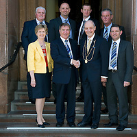 Perth & Kinross Council Hold A Civic Reception for former St Johnstone Chairman Geoff Brown....30.03.12    Pictured front row from left KLady Provost Sara Hulbert, Geoff Brown, Provost John Hulbert and Steve Brown St Johnstone Chairman, back row from left, Abby Ramsay former St Johnstone Director, Charlie Fraser St Johnstone Director, Steve Lomas St Johnstone Manager and Stan Harris St Johnstone Director.<br /> Picture by Graeme Hart.<br /> Copyright Perthshire Picture Agency<br /> Tel: 01738 623350  Mobile: 07990 594431