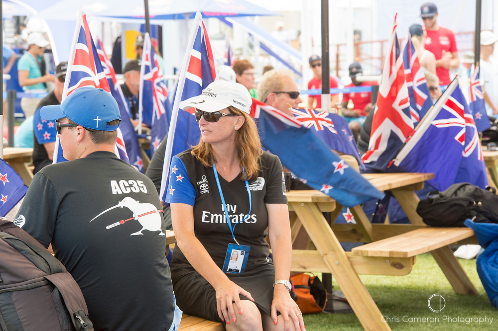 The America's Cup Village, Ireland Island, Bermuda, 18th June. Emirates Team New Zealand supporters congregate ahead of racing on day two of the America's Cup.