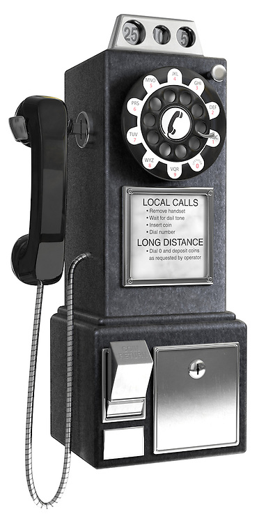 Black 1950's pay phone on a white background