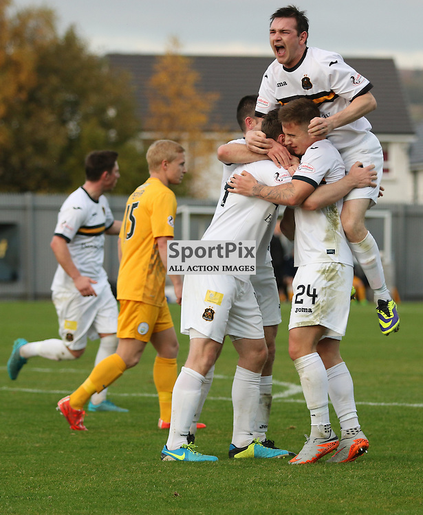 Mark Docherty Joins in during the Dumbarton FC v Morton FC Scottish Championship 31 October 2015 <br /> <br /> (c) Andy Scott | SportPix.org.uk
