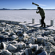 Works of extracion of blocks of salt realized by Fredy, like all his companions covers the face to be protected from the sun and from the cold .  Salar de Uyuni ( Uyuni salt flat ) . Department  of Potos&iacute;  ( Los Lipez).  South West  Bolivia. <br /> Adult Altiplano America Andes Arid  Aridity Axe Barren  Bicycle Block  Bolivia Cleaver Color Colour Cone  Day Daytime  Department  Desert Desolate Desolation Dry  Exterior Extraction  Geography Hack Hard Hatchet  Heat Highlands  Horizon  Human  Latin America Lake  Lined Los Lipez Male Man Men Miner Mining Nature  Resource  Natural  One Outdoors Outside  Pan People  Person Pyramide Potos&iacute;  Production  Region Resource Rural Salar de Uyuni  Salt Flat  Salt Pan  Salt lake  Scenic Seasoning  Single Shape South America  Southwest  Sud Sunglasses  Surface Travel  Vertical West White Work  Worker Working