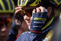 Sarah Roy (Orica Scott) at Drentse 8 2017. A 143 km road race on March 12th 2017, starting and finishing in Dwingeloo, Netherlands. (Photo by Sean Robinson/Velofocus)