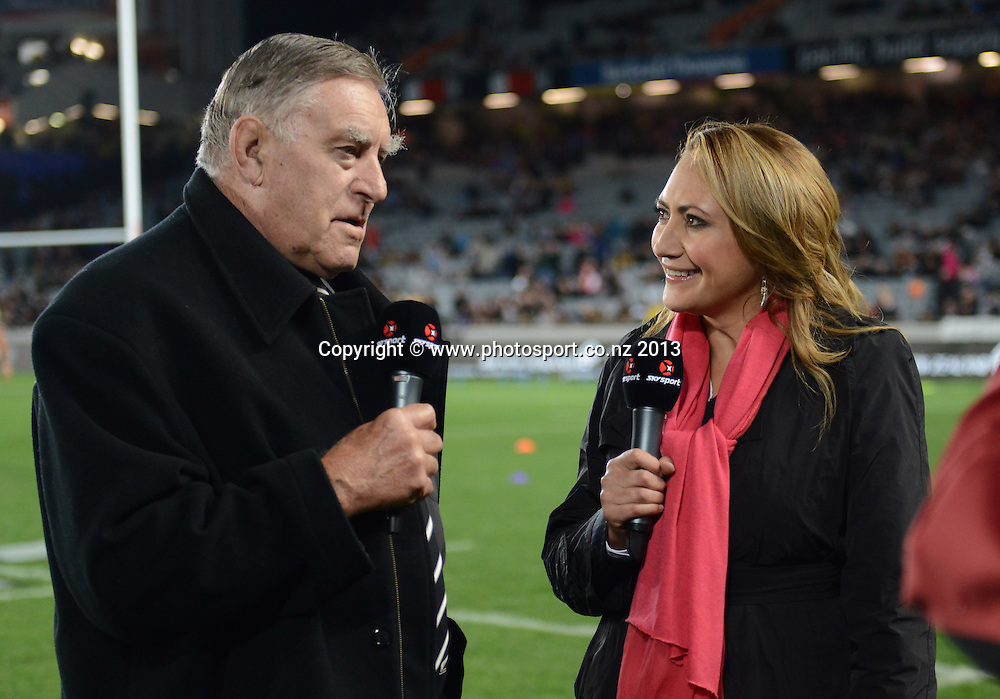 Sir Colin Meads and Melodie Robinson. The Rugby Championship. New Zealand All Blacks v South Africa. Test Match Rugby Union. Eden Park, Auckland. New Zealand. Saturday 14 September 2013. Photo: Andrew Cornaga/www.Photosport.co.nz