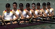 FISA World Cup Rowing Milan Italy.29/05/2003  - Photo Peter Spurrier.The German men's eight moves away from the start, on the opening day of the first round of the FISA World Cup on the Idroscala Milan italy... [Mandatory Credit: Peter Spurrier:Intersport Images]