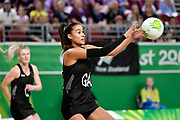 11th April 2018, Gold Coast Convention and Exhibition Centre, Gold Coast, Australia; Commonwealth Games day 7; Netball, England versus New Zealand; Maria Folau of New Zealand catches a pass