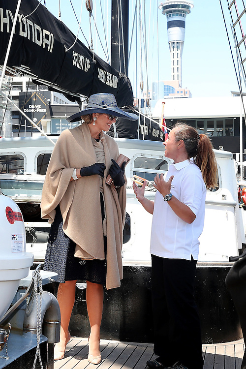 Queen Maxima of The Netherlands speaks to staff during her visit to the Spirit of New Zealand Youth Training Vessel at Princes Wharf, Auckland, New Zealand, Wednesday, November 09, 2016. Credit:SNPA / Getty/Fiona Goodall  **POOL**