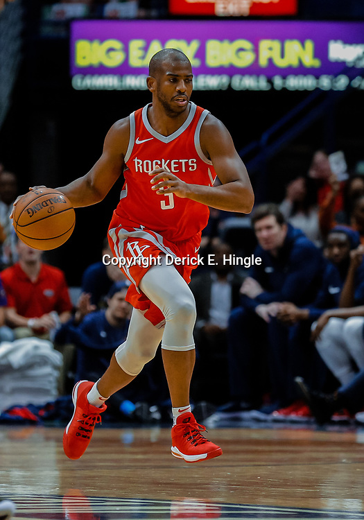 Jan 26, 2018; New Orleans, LA, USA; Houston Rockets guard Chris Paul (3) against the New Orleans Pelicans during the first quarter at the Smoothie King Center. Mandatory Credit: Derick E. Hingle-USA TODAY Sports