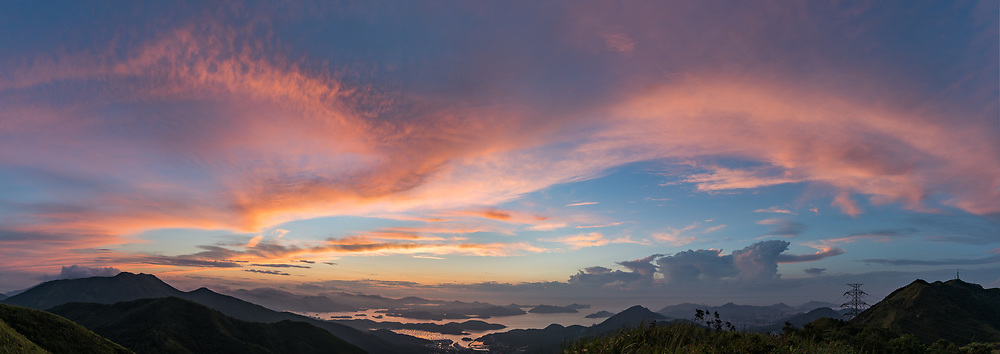 Burning twilight before the sunrise over Sai Kung in Hong Kong