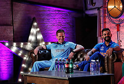 England's Eoin Morgan and India's Virat Kohli during the press conference during the Cricket World Cup captain's launch event at The Film Shed, London.