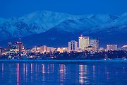 Anchorage Alaska and the Chugach Mountains with Cook Inlet