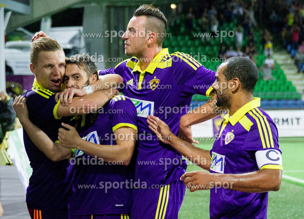 Agim Ibraimi #10 of Maribor, Dare Vrsic #22 of Maribor, Amir Dervisevic #21 of Maribor, Marcos Tavares #9 of Maribor celebrate after Ibraimi scored second goal for Maribor during 2nd Leg football match between NK Maribor and HSK Zrinjski Mostar in Second Qualifying Round of UEFA Champions League 2014/15, on July 23, 2014 in Stadium Ljudski vrt, Maribor, Slovenia. Photo by Vid Ponikvar / Sportida.com