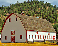 Nice red and white barn in Wolf Creek, Montana, USA