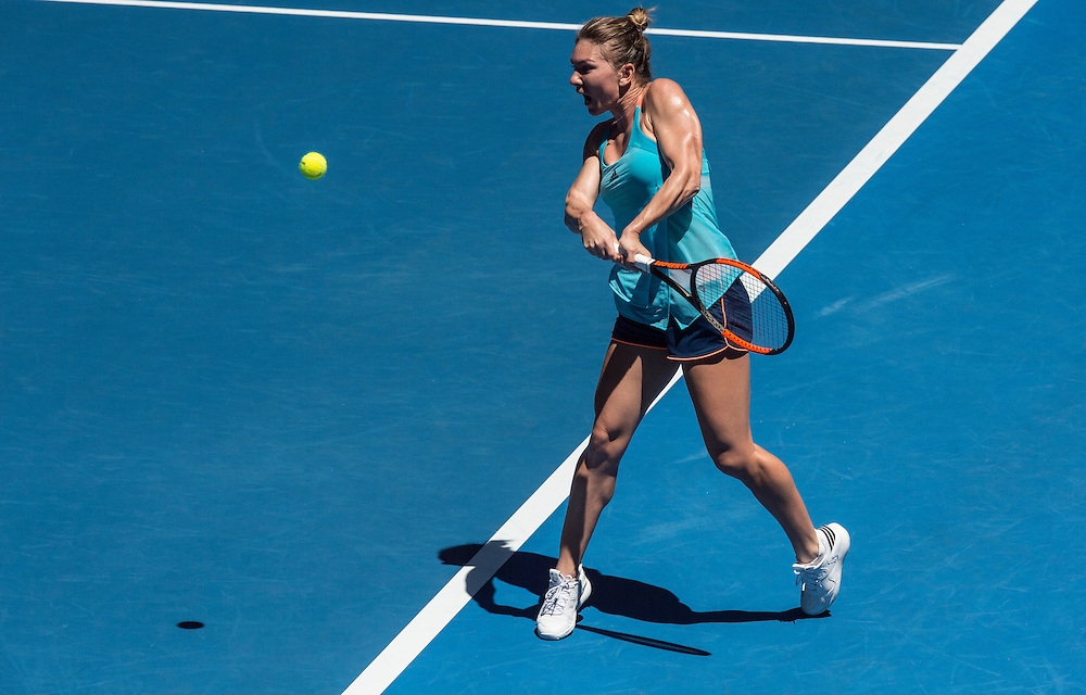 Shelby Rogers of the United States takes on Simona Halep of Romania during their first round match on day one of the 2017 Australian Open in Melbourne, Australia on January 16, 2017.<br /> (Ben Solomon/Tennis Australia)