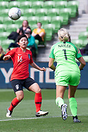 MELBOURNE, VIC - MARCH 06: Sodam Lee (16) of Korea Republic competes with Erin Nayler (1) of New Zealand for the ball during The Cup of Nations womens soccer match between New Zealand and Korea Republic on March 06, 2019 at AAMI Park, VIC. (Photo by Speed Media/Icon Sportswire)