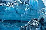 A wall of blue ice on the face of the Lamplugh Glacier in Glacier Bay National Park June 22, 2017. <br /> Photo by David Lienemann