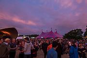 The sun sets on Saturday evening - The 2017 Latitude Festival, Henham Park. Suffolk 15 July 2017