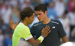 Milos Raonic(R) of Canada greets Rafael Nadal of Spain after their men's quarterfinal on day twelve of the BNP Paribas Open tennis at the Indian Wells Tennis Garden in Indian Wells, California, the United States on March 20, 2015. Rafael Nadal lost 1-2. EXPA Pictures © 2015, PhotoCredit: EXPA/ Photoshot/ Yang Lei C<br /> <br /> *****ATTENTION - for AUT, SLO, CRO, SRB, BIH, MAZ only*****