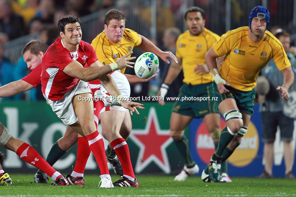 Wales' Mike Phillips in action during the Wales v Australia bronze final match of the 2011 IRB Rugby World Cup. Eden Park, Auckland, New Zealand. Friday 21 October 2011. Photo: Anthony Au-Yeung / photosport.co.nz