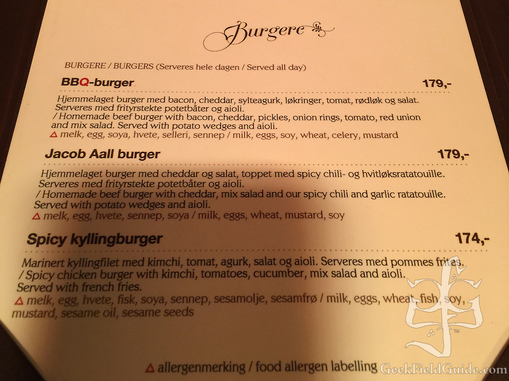 Detail from the Jacob Aall menu, highlighting the food allergen labeling.