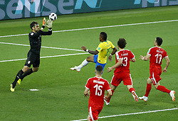 June 27, 2018 - Moscow, Russia - Group E Serbia v Brazil - FIFA World Cup Russia 2018.Paulinho (Brazil) scoring the goal of 0-1 at Spartak Stadium in Moscow, Russia on June 27, 2018. (Credit Image: © Matteo Ciambelli/NurPhoto via ZUMA Press)