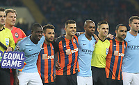 KHARKOV, UKRAINE - OCTOBER 23: Players and Officials pose for photographers before  the Group F match of the UEFA Champions League between FC Shakhtar Donetsk and Manchester City at Metalist Stadium on October 23, 2018 in Kharkov, Ukraine. (Photo by MB Media/Getty Images)