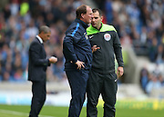 Preston North End manager Simon Grayson argues with the fourth official during the Sky Bet Championship match between Brighton and Hove Albion and Preston North End at the American Express Community Stadium, Brighton and Hove, England on 24 October 2015.