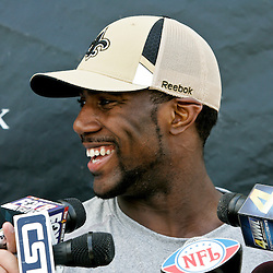 08 May 2009: Saints first round draft selection, cornerback/safety Malcom Jenkins talks with the media following the morning practice on day one of the New Orleans Saints rookie minicamp held at the team's practice facility in Metairie, Louisiana.
