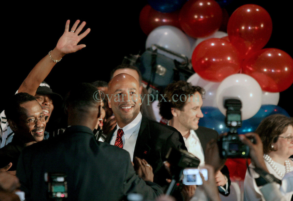 May 20th, 2006. New Orleans, Louisiana. Mayor Ray Nagin celebrates victory with his family and supporters at the Marriiott Hotel in the race for Mayor of New Orleans as he is once again elected to office, beating off challenger Mitch Landrieu. Nagin's wife Seletha and 7 year old daughter Tianna are to his right.