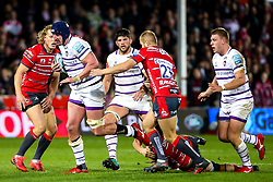 Will Spencer of Leicester Tigers is tackled - Mandatory by-line: Robbie Stephenson/JMP - 16/11/2018 - RUGBY - Kingsholm - Gloucester, England - Gloucester Rugby v Leicester Tigers - Gallagher Premiership Rugby