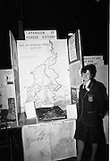 "04/01/1967.01/04/1967.4th January 1967 .The third annual Aer Lingus Young Scientist Exhibition at the RDS..Picture shows Mary Rosaleen Merry, Colaiste Muire Inis, Co Clare with her exhibit ""A study of the propsed expansion of the Fergus Estuary"".  ..."