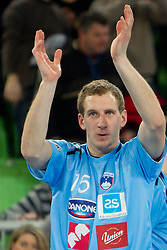 Jure Susin of Slovenia after the handball match between National teams of Slovenia and Poland of Qualification Group 3 for Men's EURO 2012, on March 9, 2011 in Arena Stozice, Ljubljana, Slovenia. Slovenia defeated Poland 30-28. (Photo By Vid Ponikvar / Sportida.com)