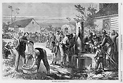 """The Halt"" by Thomas Nast Troops washing, drinking water and resting, pumping water from a well and filling canteens as a young black boy looks on. Civil War: October 1, 1864 Harper's Weekly"