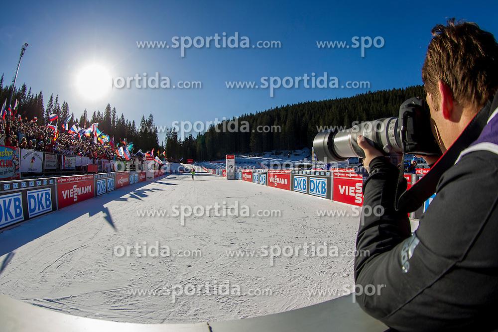 Photographer Vid Ponikvar taking a picture of Miha Dovzan (SLO) during Men 12,5 km Pursuit at day 3 of IBU Biathlon World Cup 2015/16 Pokljuka, on December 19, 2015 in Rudno polje, Pokljuka, Slovenia. Photo by Urban Urbanc / Sportida