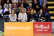 Tactix coach Sue Hawkins(2nd from left) during their ANZ Championship Netball game between the Mainland Tactix v West Coast Fever. Marlborough Lines Stadium 2000, Blenheim, New Zealand. Sunday 12 April 2015. Copyright Photo: Chris Symes / www.photosport.co.nz